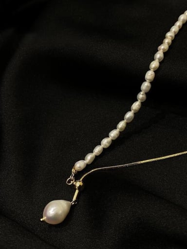 Titanium Steel Imitation Pearl Tassel Minimalist Lariat Necklace