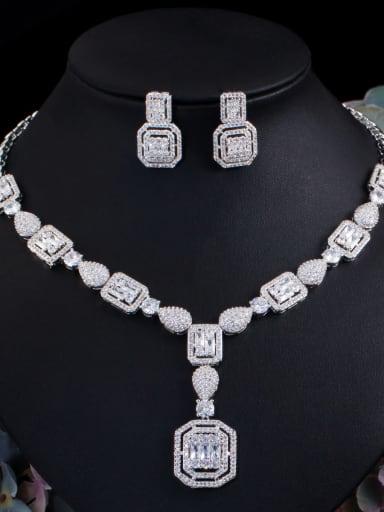 Platinum 2-piece set Brass Cubic Zirconia  Luxury Geometric Ring Earring Braclete And Necklace Set