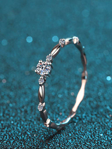 Sterling Silver Moissanite  Flower  Dainty Solitaire Engagement Rings