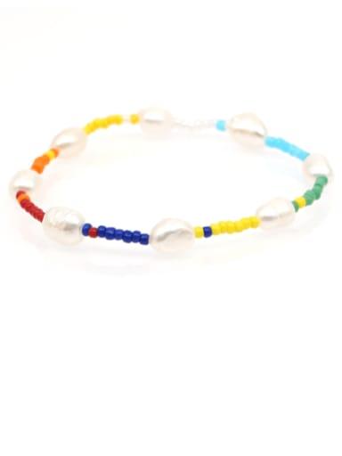 ZZ B200005A Freshwater Pearl Multi Color Irregular Bohemia Stretch Bracelet