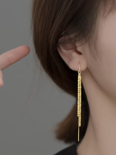 TASSEL EAR line gold 925 Sterling Silver Tassel Minimalist Threader Earring
