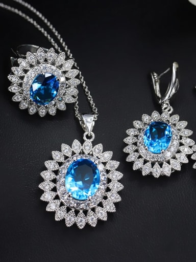 Sea blue ring size 6 Brass Cubic Zirconia  Dainty Geometric Earring Ring and Necklace Set