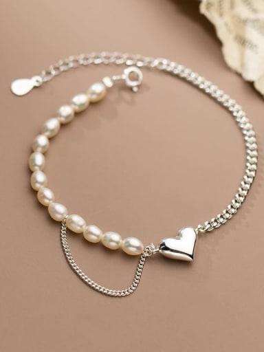 925 Sterling Silver Freshwater Pearl Geometric Chain Minimalist Link Bracelet