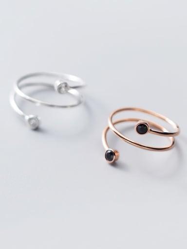 925 Sterling Silver Carnelian Black Irregular Minimalist Band Ring