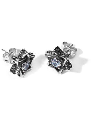 Stainless steel Cubic Zirconia Flower Vintage Stud Earring