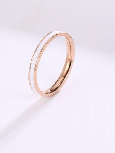 Titanium Steel Enamel Round Minimalist Band Ring