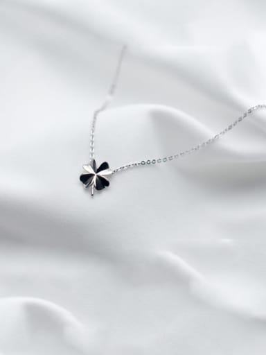 sliver 925 Sterling Silver Smooth Flower Minimalist Necklace