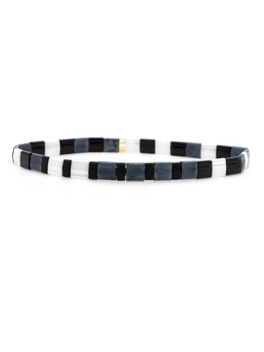 Stainless steel Tila Bead White Geometric Bohemia Handmade Weave Bracelet