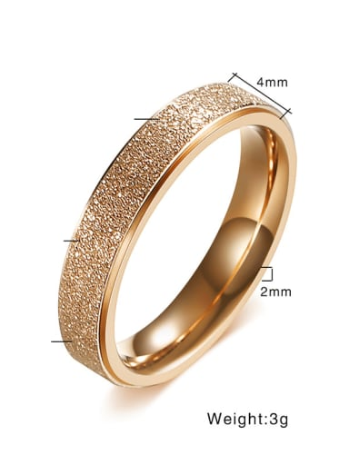 Rose Gold  Width 4MM Stainless steel Geometric Minimalist Band Ring