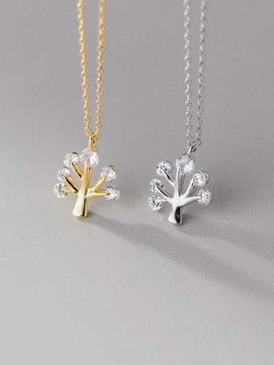 925 Sterling Silver Cubic Zirconia Tree Minimalist Necklace