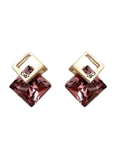 purple Imitation crystal Brass Crystal Geometric Luxury Drop Earring