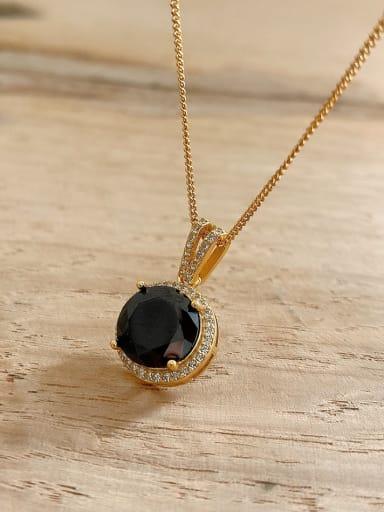 925 Sterling Silver Obsidian Geometric Vintage Pendant Necklace
