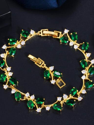 Golden green Copper Cubic Zirconia Leaf Luxury Bracelet