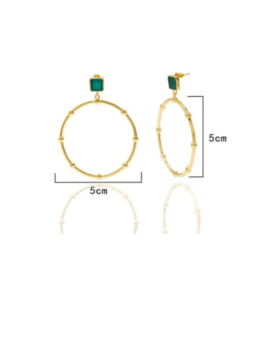 Golden green Copper Malchite  Hollow Round Minimalist Chandelier Earring