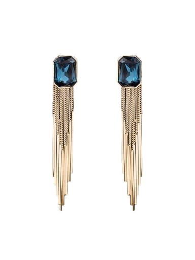 Gold Blue Brass Imitation crystal Geometric  Tassel Vintage Drop Earring
