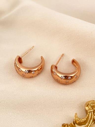 rose gold 925 Sterling Silver Geometric Vintage Stud Earring