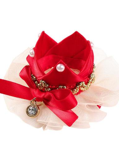 2 large red hairpin Alloy Yarn Cute Flower  Multi Color Hair Headband