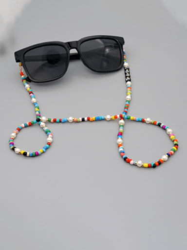 ZZ N200049A Stainless steel Imitation Pearl Multi Color Acrylic Letter Bohemia  Hand-woven Necklace