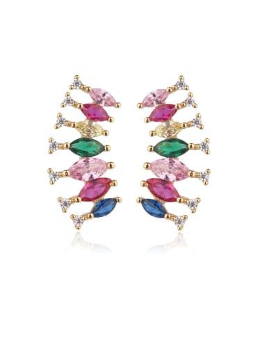 Copper Cubic Zirconia Multi Color Water Drop Luxury Stud Earring