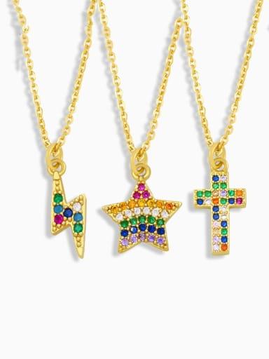 Brass Cubic Zirconia Star Hip Hop Necklace