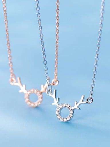 925 Sterling Silver Cubic Zirconia Deer Minimalist Necklace