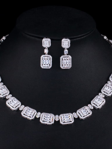 Platinum Brass Cubic Zirconia Luxury Geometric Earring and Necklace Set