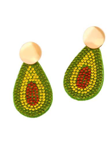 B Brass Cubic Zirconia Leaf Hip Hop Cluster Earring
