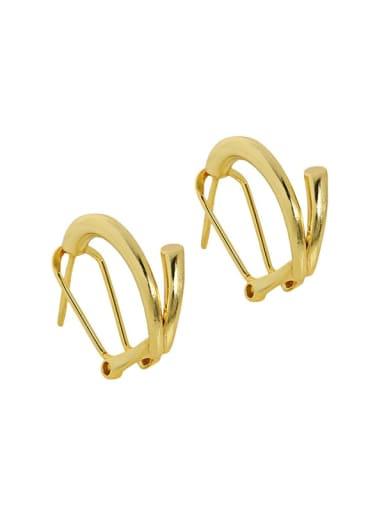 18K gold [with rubber ear plug] 925 Sterling Silver Irregular Vintage Stud Earring
