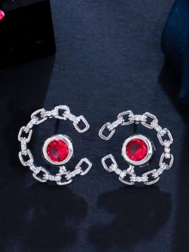 red Brass Cubic Zirconia Geometric Luxury Stud Earring