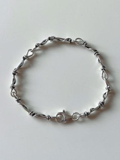 925 Sterling Silver Vintage Irregular manual twisting  Adjustable Bracelet