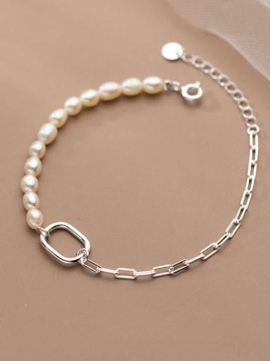 925 Sterling Silver Freshwater Pearl Asymmetry Geometric Minimalist Link Bracelet