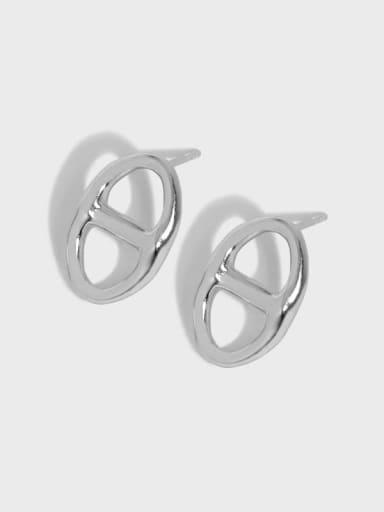 925 Sterling Silver Hollow Geometric Vintage Stud Earring