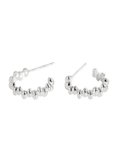 Silver 925 Sterling Silver Smooth Round Vintage Stud Earring