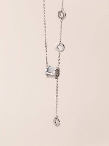 Silver 925 Sterling Silver Geometric Minimalist Lariat Necklace