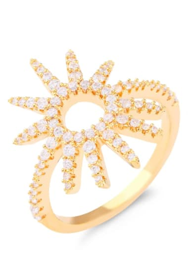 Brass Cubic Zirconia Flower Luxury Cocktail Ring