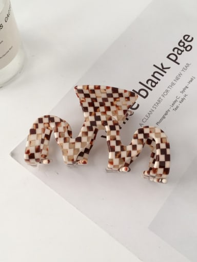 Plaid Brown Alloy Cellulose Acetate Hip Hop wave Jaw Hair Claw