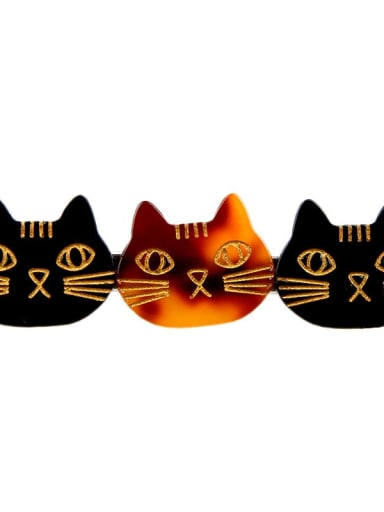 Black Brown Cellulose Acetate Cute Cat Hair Barrette
