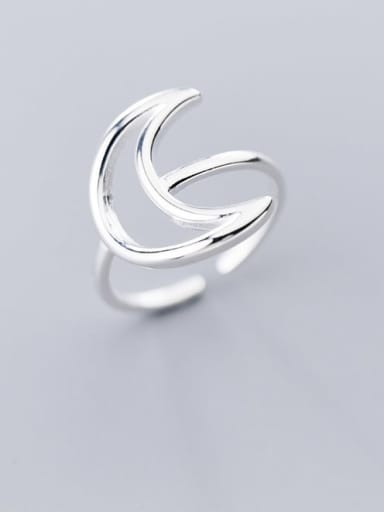 925 Sterling Silver Moon Minimalist Band Ring