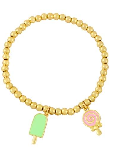 Brass Enamel Heart Vintage Beaded Bracelet