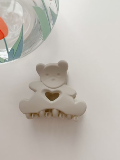 Frosted grey 4.5cm Alloy Resin Cute Little bear  Jaw Hair Claw