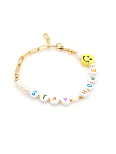 ZZ B200072C Stainless steel Imitation Pearl Multi Color Letter Minimalist Bracelet