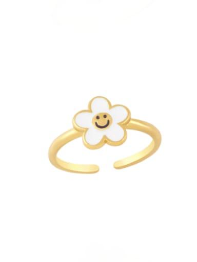white Brass Enamel Smiley Minimalist Band Ring