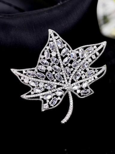 platinum Brass Cubic Zirconia Butterfly Statement Brooch