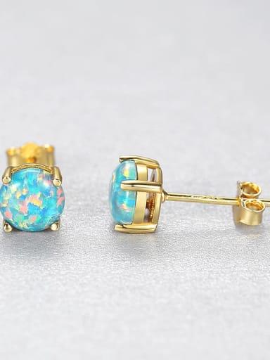 Green 24A01 925 Sterling Silver Opal Geometric Minimalist Stud Earring