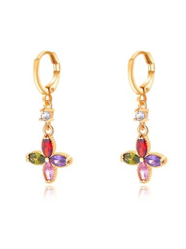 Brass Multi Color Cubic Zirconia Geometric Dainty Huggie Earring