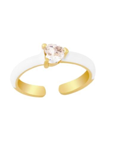 white Brass Enamel Cubic Zirconia Heart Minimalist Band Ring