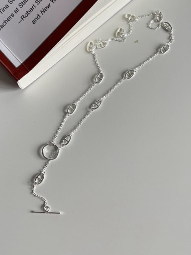 925 Sterling Silver Geometric Minimalist Hollow Chain Necklace