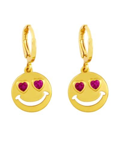 Brass Rhinestone Smiley Minimalist Huggie Earring