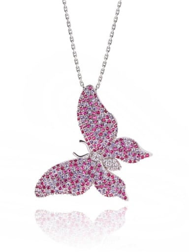 Brass Cubic Zirconia Multi Color Butterfly Statement Necklace