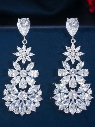 Brass Cubic Zirconia Flower Luxury Cluster Earring